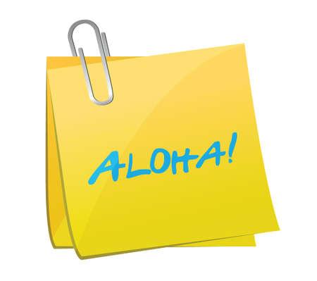 흰색 위에 그림 디자인 aloha 게시물 스톡 콘텐츠 - 25206990