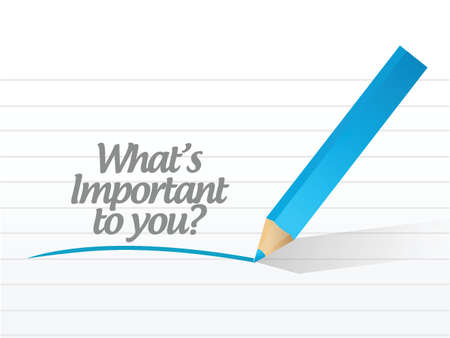 methods: whats important to you message illustration design over a white background