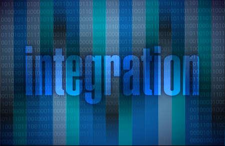 hexadecimal: integration text illustration over a binary background