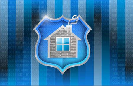 バイナリの背景の上の家セキュリティ シールドのイラスト デザイン 写真素材