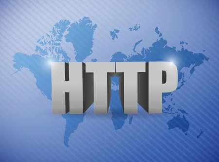http: world map http concept illustration design blue background Stock Photo