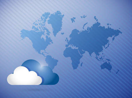cloud computing world map concept illustration design background illustration