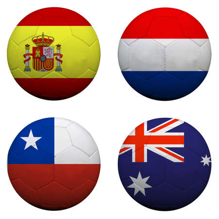 soccer balls with group B teams flags, Football Brazil 2014. isolated on white photo