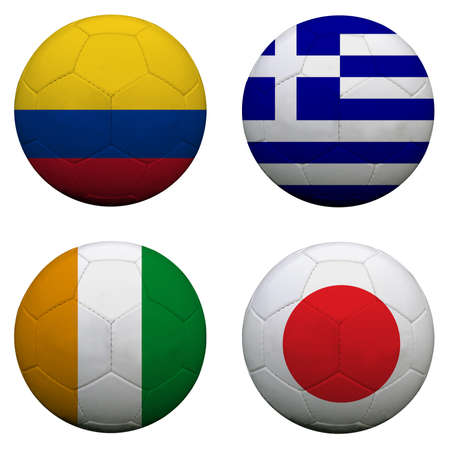 soccer balls with group C teams flags, Football Brazil 2014 photo