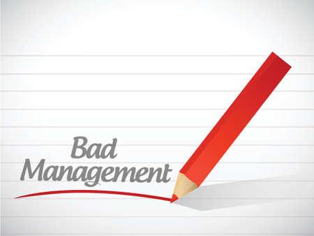 slecht beheer bericht illustratie ontwerp op een witte achtergrond