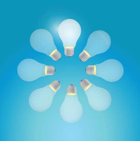 set of light bulb in a circle. illustration design over a blue background