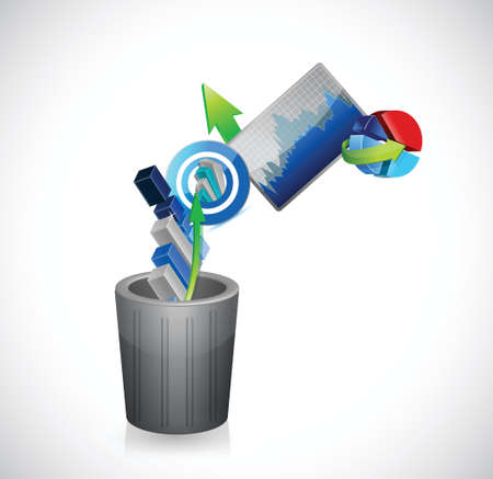 business going to the trash concept. illustration design over a white background