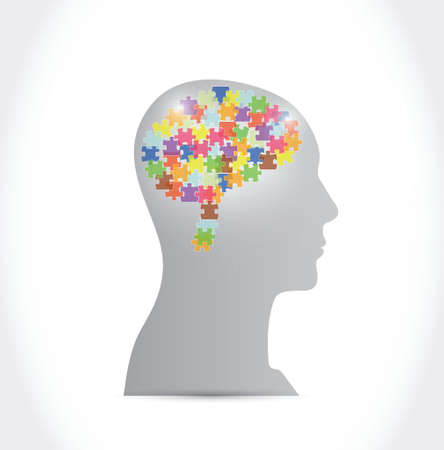 puzzle pieces brain and head illustration design over a white background