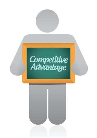 白い背景の上の競争優位性メッセージ イラスト デザイン  イラスト・ベクター素材