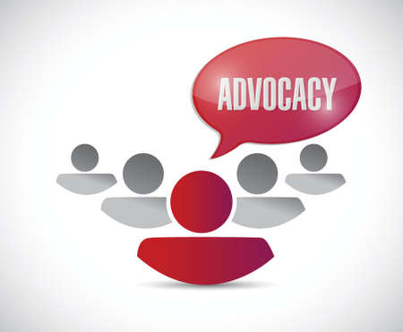 advocacy: advocacy message and team illustration design over a white background