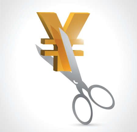 cut yen prices illustration design over a white background