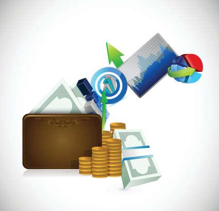 白い背景の上財布ビジネス コンセプト イラスト デザイン