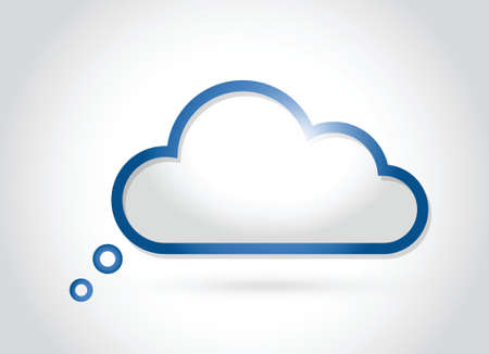 declare: cloud computing. thinking concept illustration design over a white background
