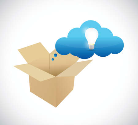 ideas inside a box. illustration design over a white background
