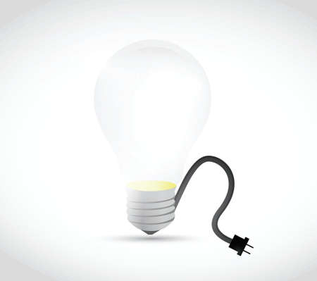 light bulb cable illustration design over a white background Vector