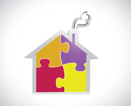 puzzle home illustration design over a white background Vector