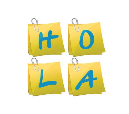 hola: hello post message in spanish set illustration design over a white background Illustration
