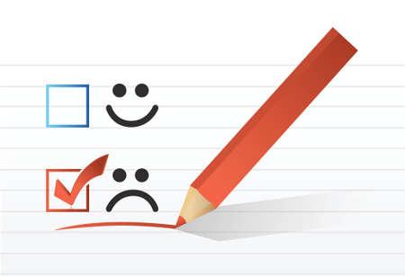 test results: triste controllo volto marchio design illustrazione su uno sfondo bianco