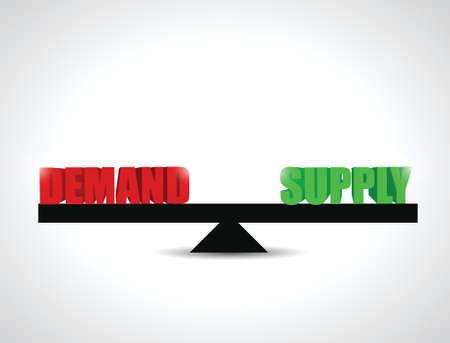 on demand: demand and supply balance illustration design over a white background