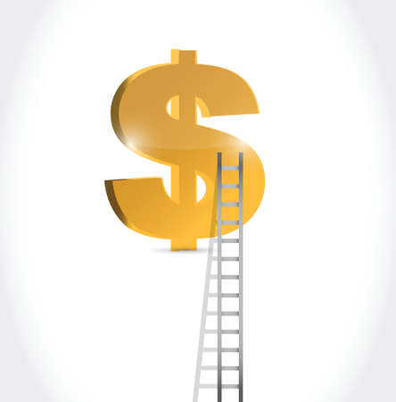 stairs to dollar currency symbol illustration design over white