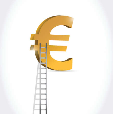 stairs to euro currency symbol illustration design over white Illustration