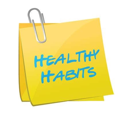 eating habits: healthy habits post illustration design over a white background