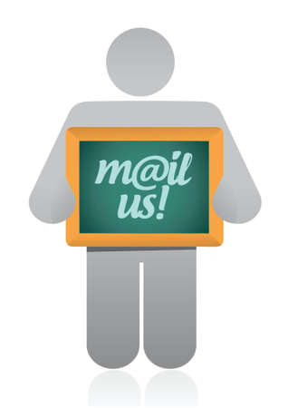 mail us: mail us message illustration design over a white background