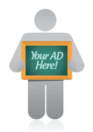 here: your ad here sign illustration design over a white background