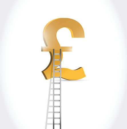 british pound: stairs to british pound currency symbol illustration design over white