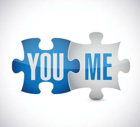 you and me puzzle illustration design over a white background Vector