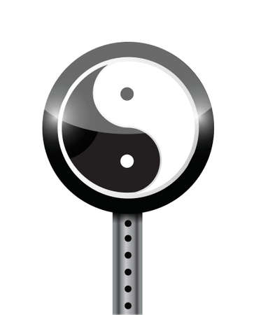 yin yang street sign illustration design over a white background 일러스트
