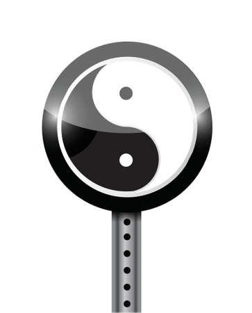 yin yang street sign illustration design over a white background 矢量图像