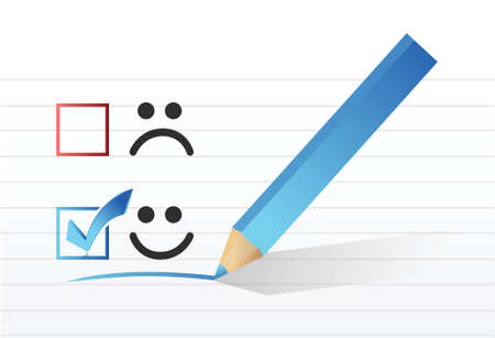happy smiling face check mark concept illustration design over a white background
