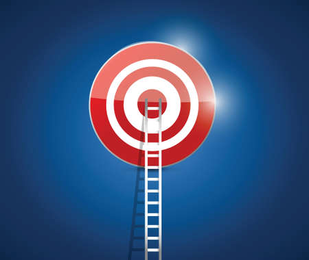 predict: stairs to your target. illustration design over a blue background Illustration