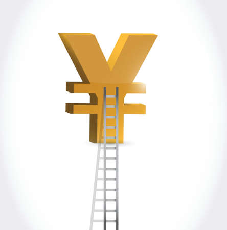 stairs to yen currency symbol illustration design over white