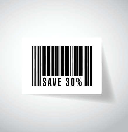 bespaart 30 procent barcode ups. illustratie ontwerp op een witte achtergrond