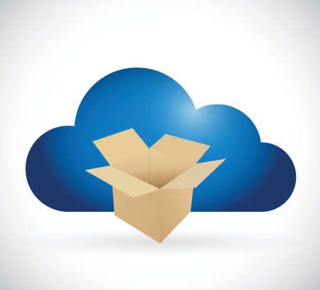 box and cloud storage concept illustration design over a white background Vector