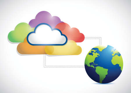 cloud computing and globe illustration design over a white background