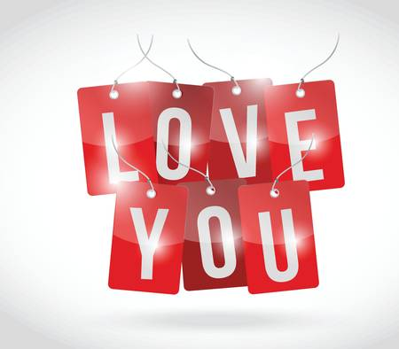 love you sign tags illustration design over a white background Vector