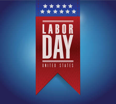 labor day banner sign illustration design over a blue background