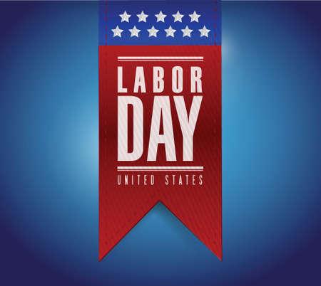labor day: labor day banner sign illustration design over a blue background