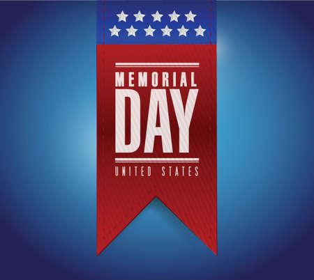 memorial day banner sign illustration design over a blue background