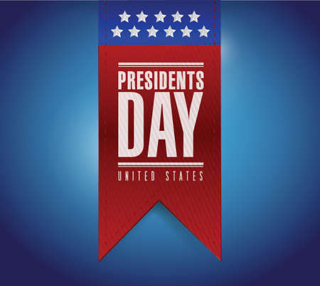 presidents day banner illustration design over a blue background