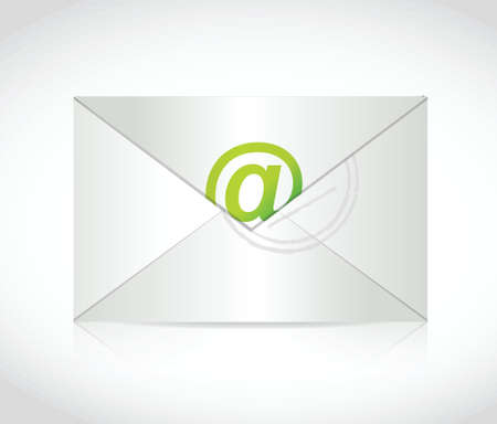 cymbol: envelope and at symbol illustration design over a white background