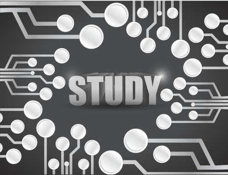 study circuit board illustration design over a black background