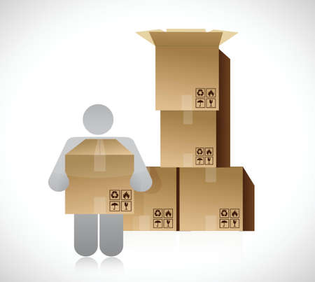 icon and set of boxes. packing concept illustration design over a white background Vector