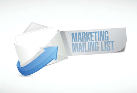 흰색 배경 위에 마케팅 메일 링리스트 메일 그림 디자인