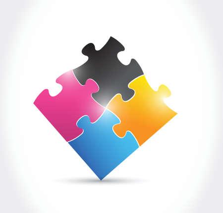 cmyk puzzle illustration design over a white background Vettoriali