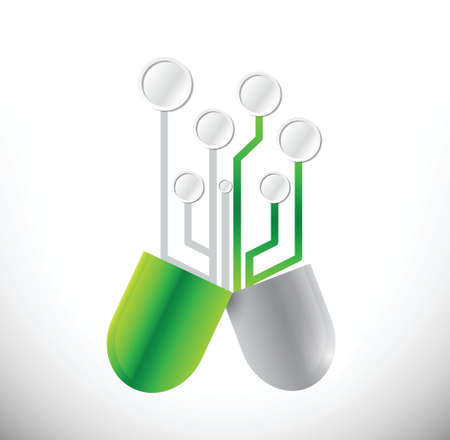 circuit pills illustration design over a white background Vector