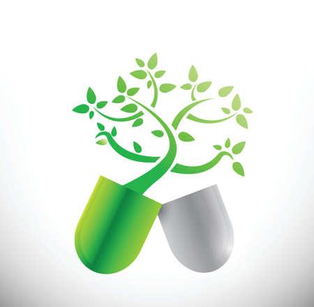 natural eco pills illustration design over a white background Vector